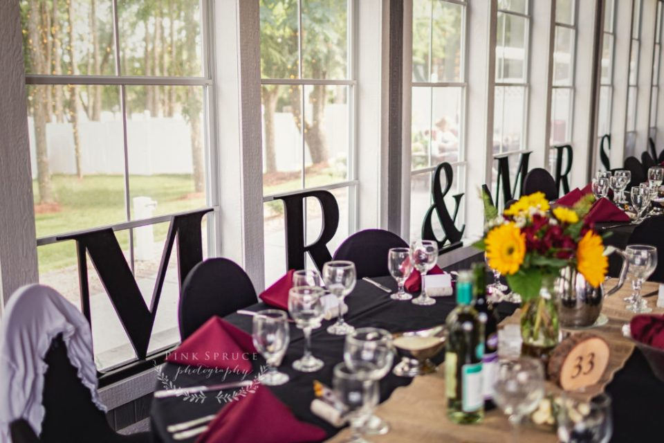 Mr and Mrs Wedding Decoration · Celebrations on the River Wedding in La Crosse, WI