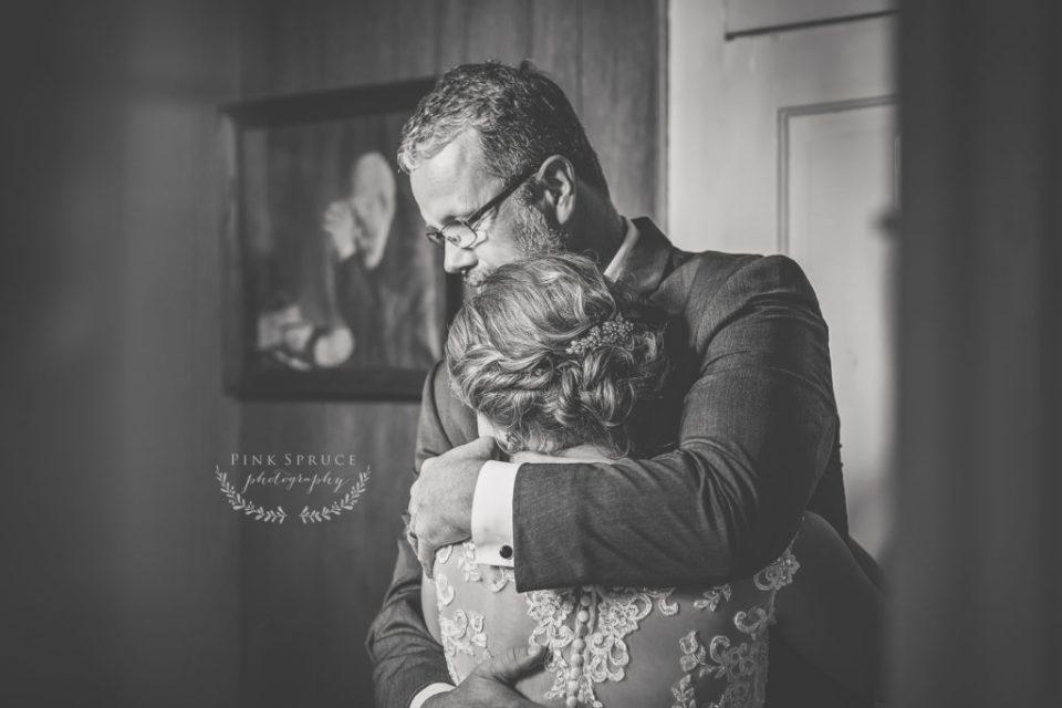 Father Daughter first look · Tamarack Lutheran Church Wedding · Arcadia, Wisconsin