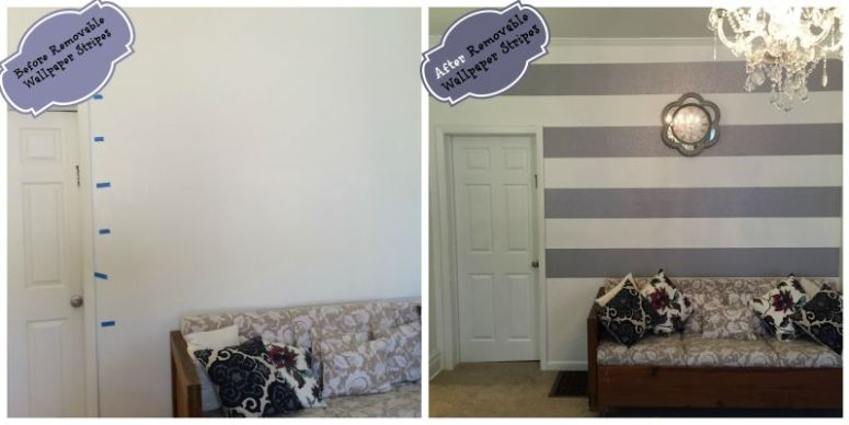 removable wallpaper stripes before and after
