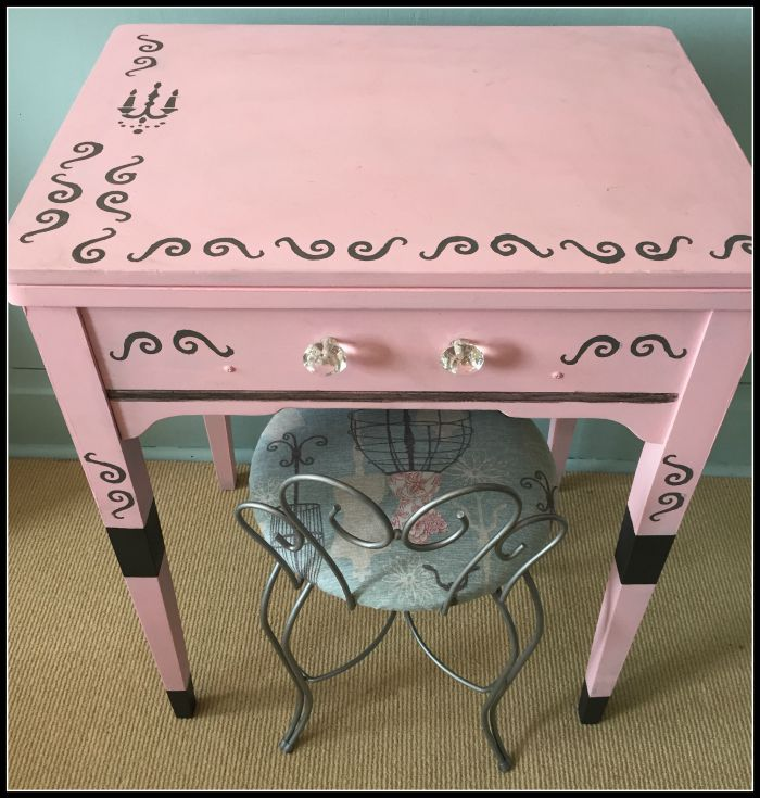 upcycled sewing desk with americana paint