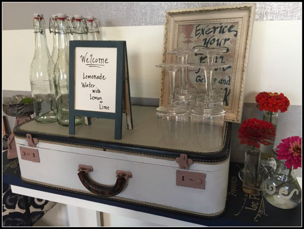 vintage luggage entertainment stand