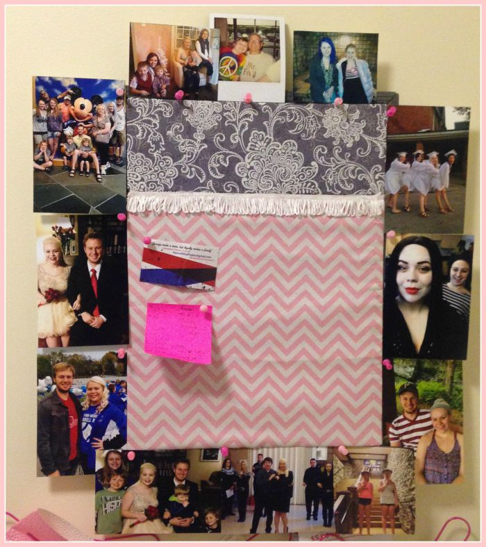 DIY dorm room decor cork board covered with fabric
