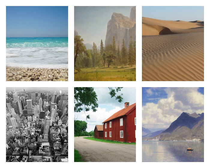 canvas art collage of beach, mountain, desert, city, and farm