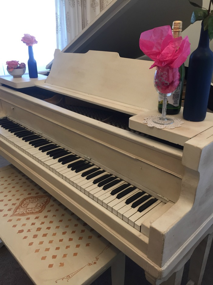painted piano with chalk paint front view