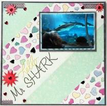 Hello Mr Shark aquarium scrapbook layout