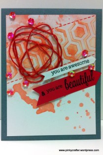 You are Awesome & Beautiful card with texture paste