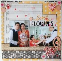 shaker scrapbook layout - Lovely flowers