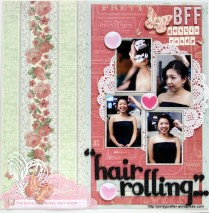 BFF hair rolling scrapbook layout