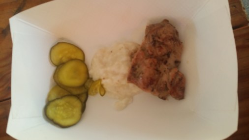 Barbecued Chicken with Alabama-Style White Sauce, Pickles and White Bread
