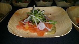 Miso Cured salmon with charred nori aioli, citrus ponzu, and crispy tapioca