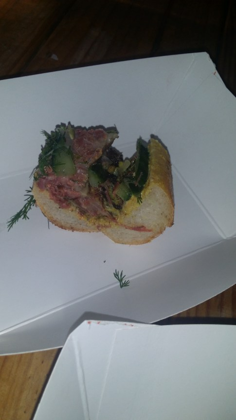 BURNT END PASTRAMI with ANCHOVY MUSTARD,BUTTERMILK FERMENTED PICKLES and ROCKY MOUNTAIN PATE