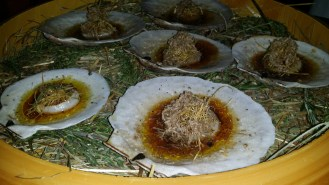 Diver Scallop Tataki with Black Truffle, Smoked Butter, and Crispy White Kombu