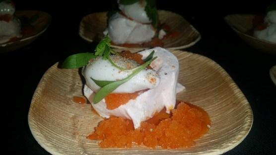 Carrot Pavlova, Cream Cheese Mousse , Carrot Granita Coconut Sorbet and Cilantro