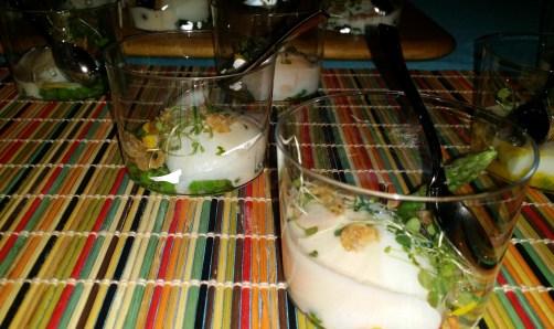 Huevo con Huevo Soft Egg with Summer Vegetables and Crispy Shrimp