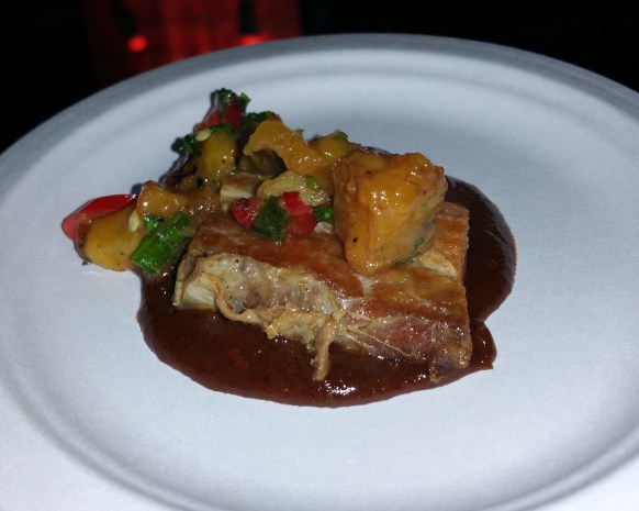roasted pork belly with pineapple plantain salsa and manchamantelas sauce
