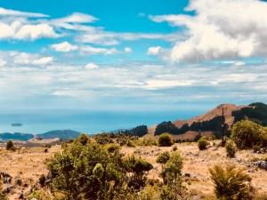 Takaka von oben, Blick auf eine Bucht, herrliche Aussicht auf das Meer