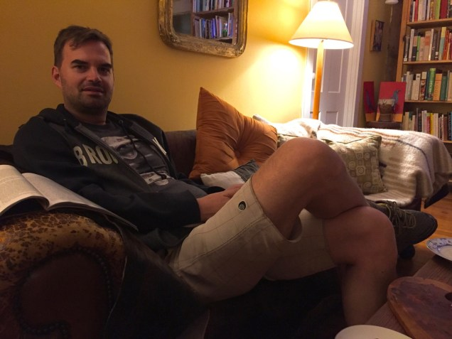 Alex relaxing in the inn after a long week in LA