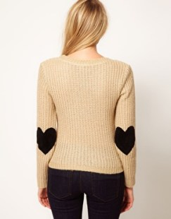 ASOS lovesweater with heart elbow patches