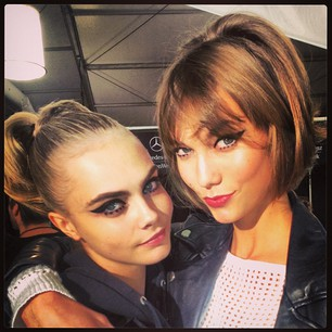 """cara delevingne """"With my boo @karliekloss backstage at Anna Sui"""""""