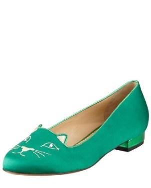 Charlotte Olympia Kitty Satin Flat Slipper, Green sold at Bergdorf Goodman $595.00