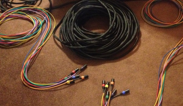 A 250 foot 6 channel shielded cat5e snake, with colored whips and thereon connectors.
