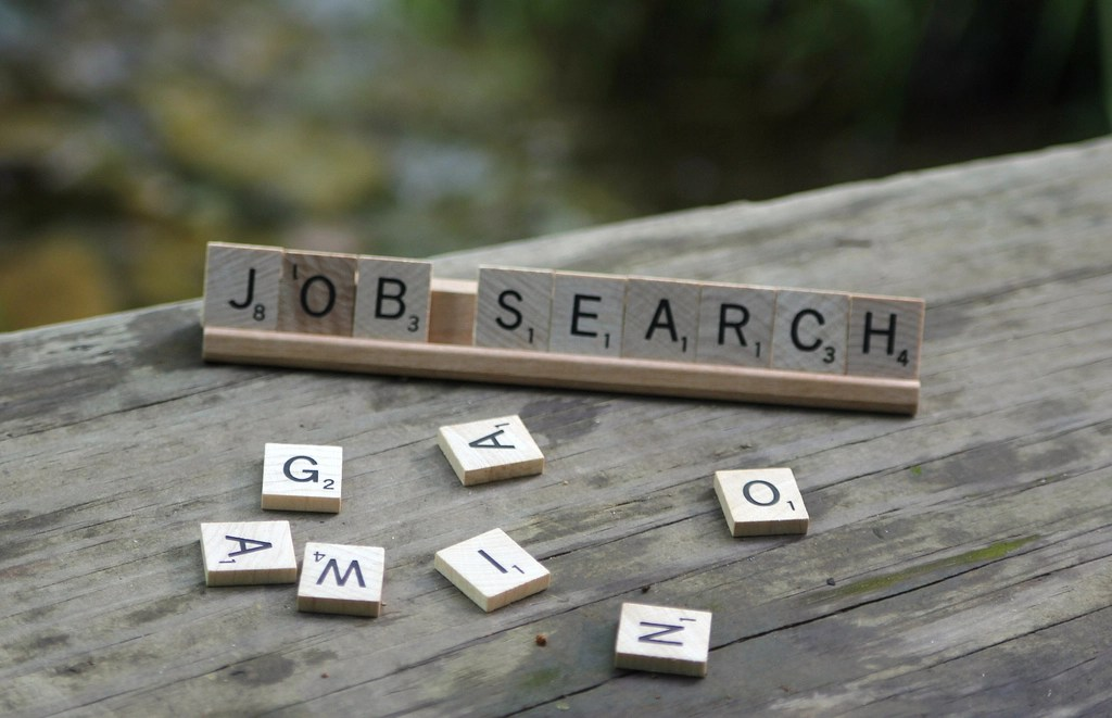 """scrabble letters that spell """"job search"""""""