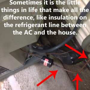 Missing insulation on the refrigerant line of an Air Conditioner in Cuyahoga Falls,OH
