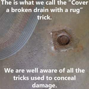A defective drain that was covered by a rug in Akron,OH