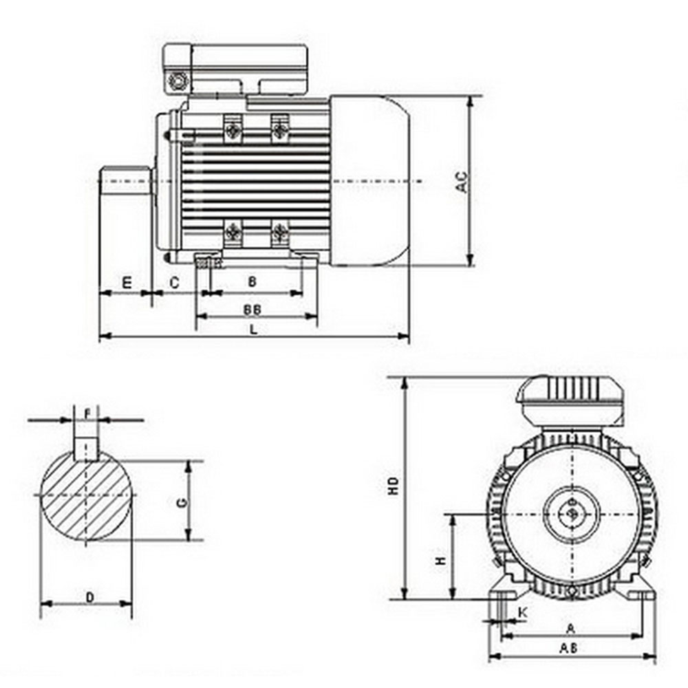 Electrical motor single-phase 240v 2.2kw 3HP 2850rpm shaft