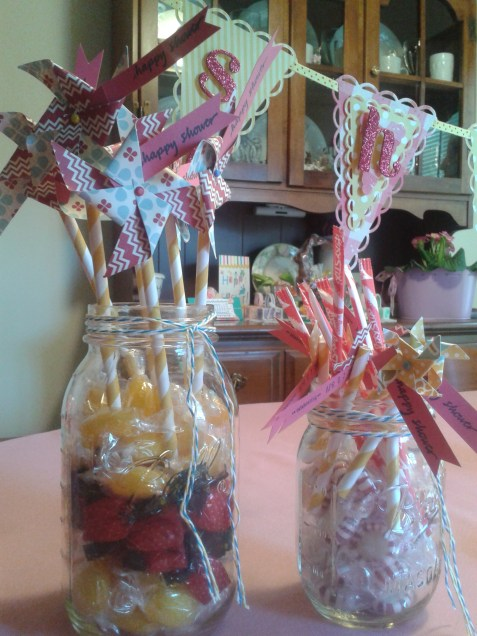 Bridal Shower Candy Jars with Pinwheels
