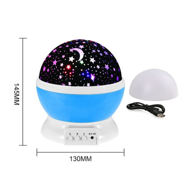 Romantic Dream Rotating Projection Lamp USB LED Night Light Sky Moon Star Master Projector for Kids 3