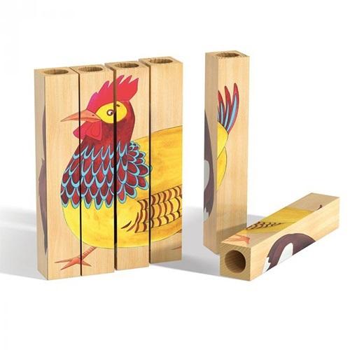 Lodra Zhvilluese per Femije Qrc Pazell me 6 shufra druri 4 dizajn 18x18x3cm Kafshet e Fermes 2 6 Vjec OTSA0011 5
