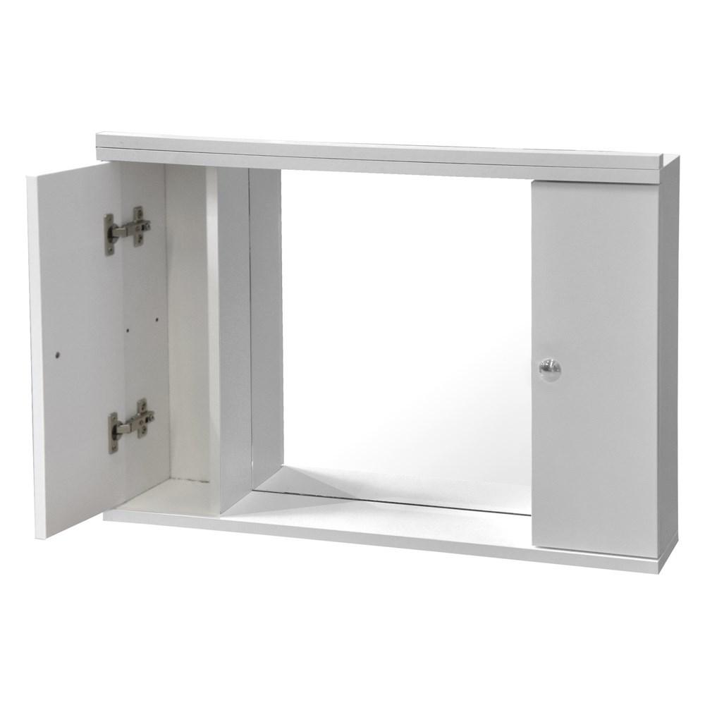 Pasqyre me ndricim me raft melamine e bardhe 70x50 cm 224494 3
