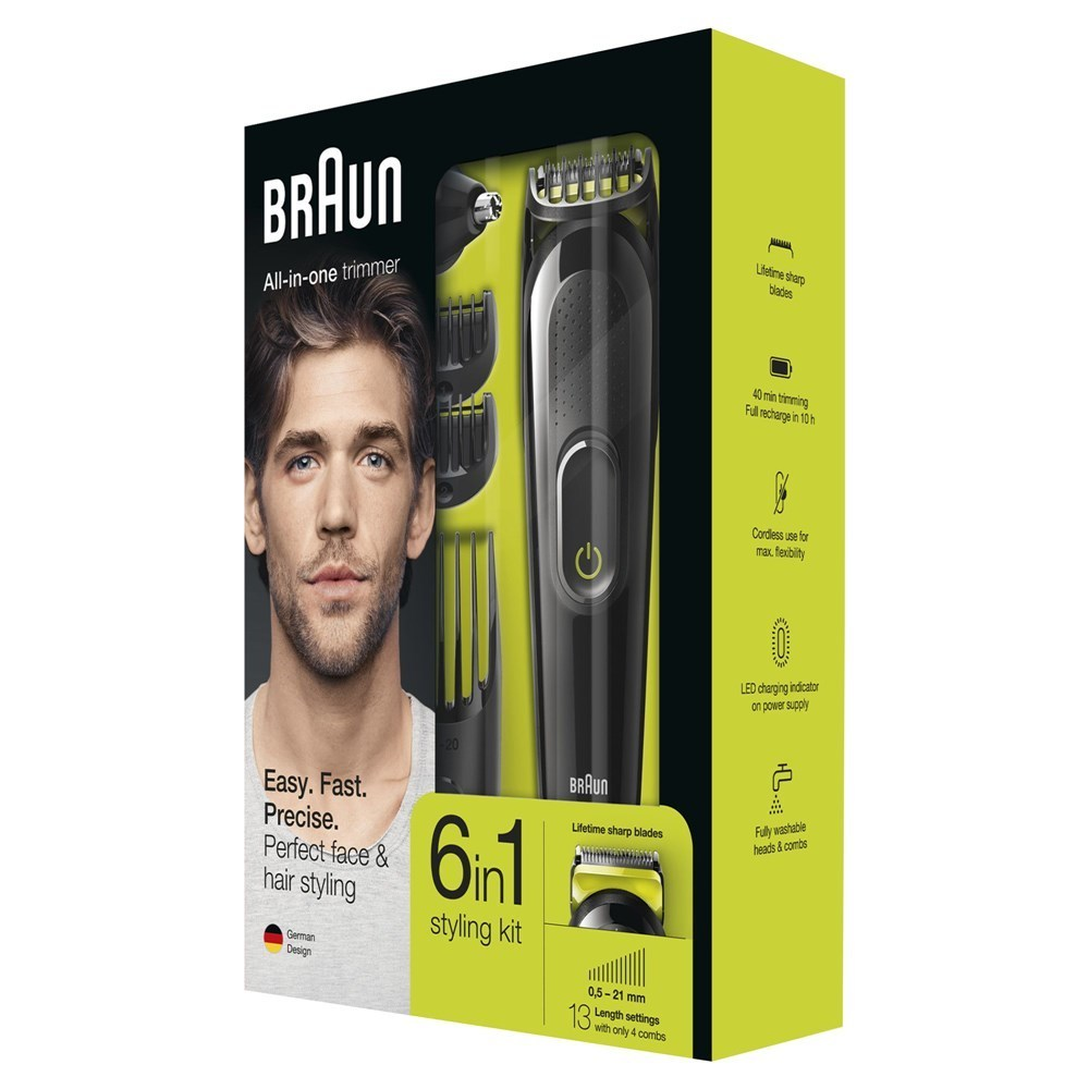 braun clipper trimmer 6 to 1 13 adjustable lengths 05 21mm ni mh battery working time 40min 1