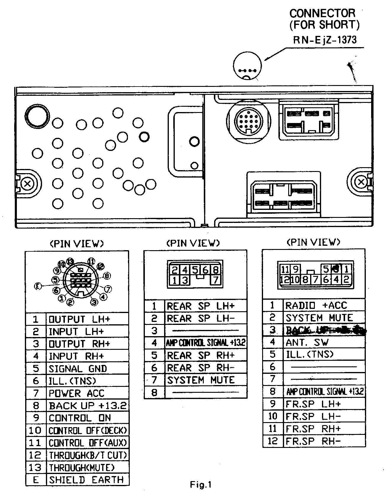 Mazda old Head Unit and CD Changer pinout diagram