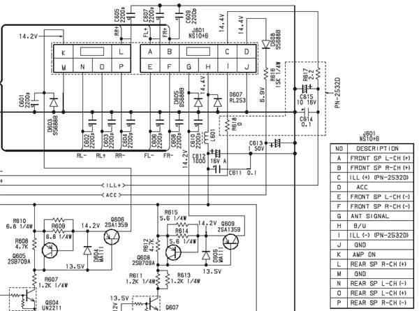 Nissan PN-2530H Head Unit pinout diagram @ pinoutguide.com