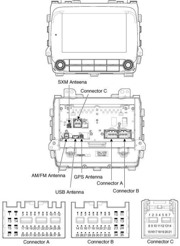 KIA Cerato (2017-2018) new Navigation Head Unit pinout
