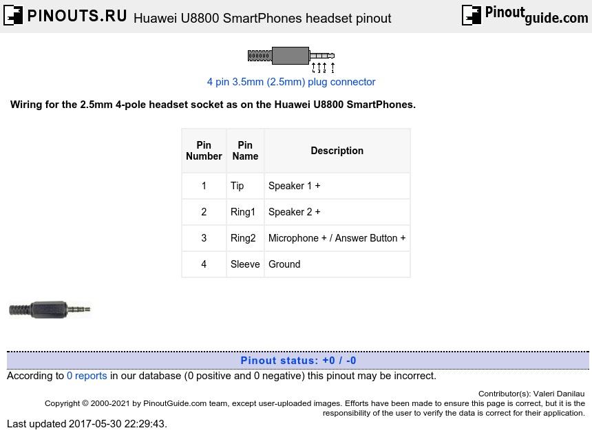 Headset Connector Wiring Huawei U8800 Smartphones Headset Pinout Diagram