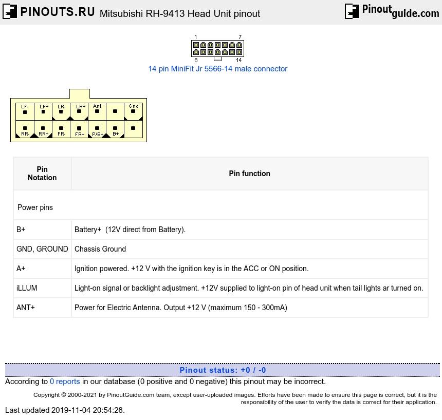 hight resolution of mitsubishi rh 9413 head unit diagram