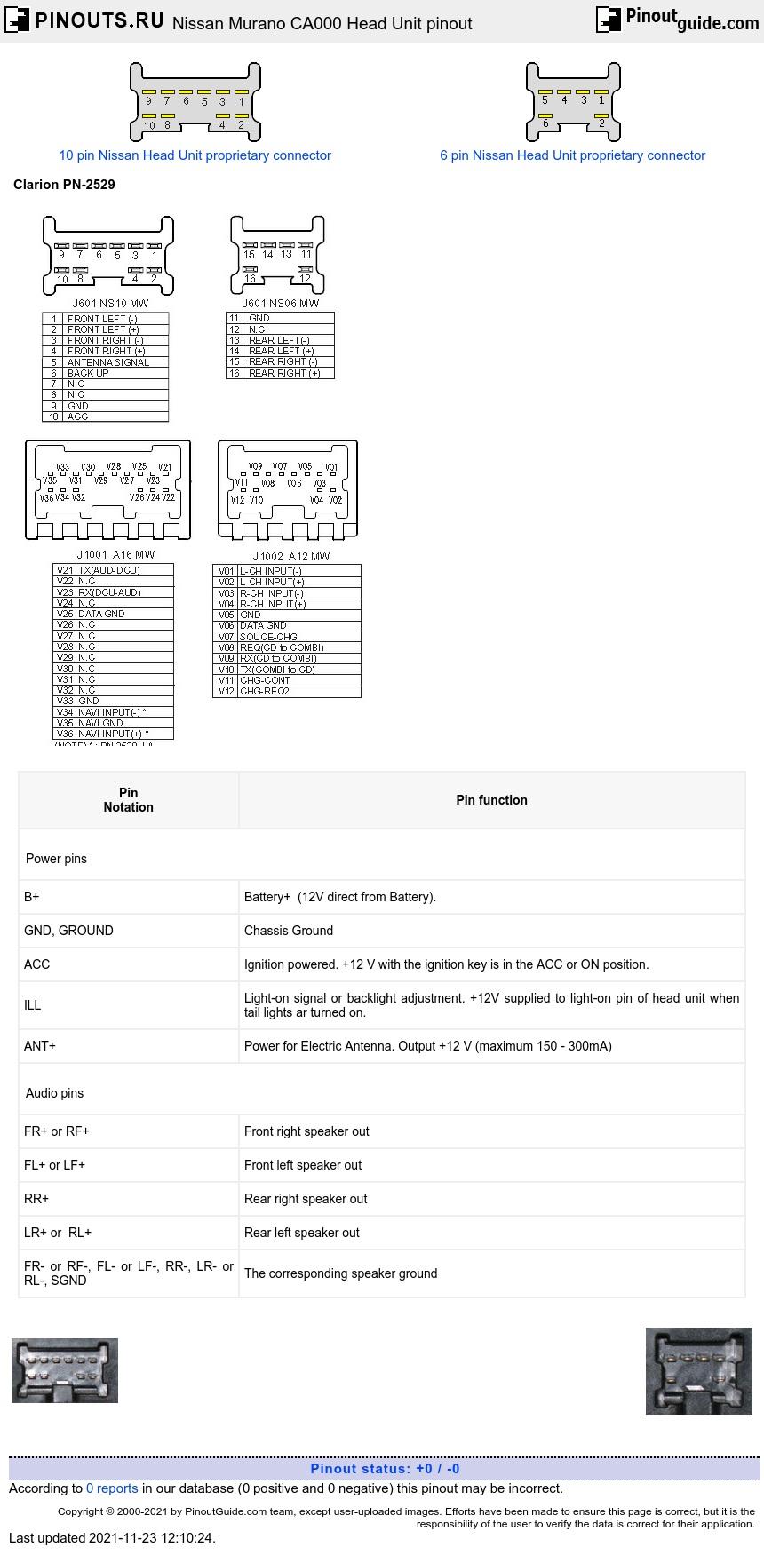 Nissan Murano CA000 Head Unit pinout diagram @ pinoutguide.com