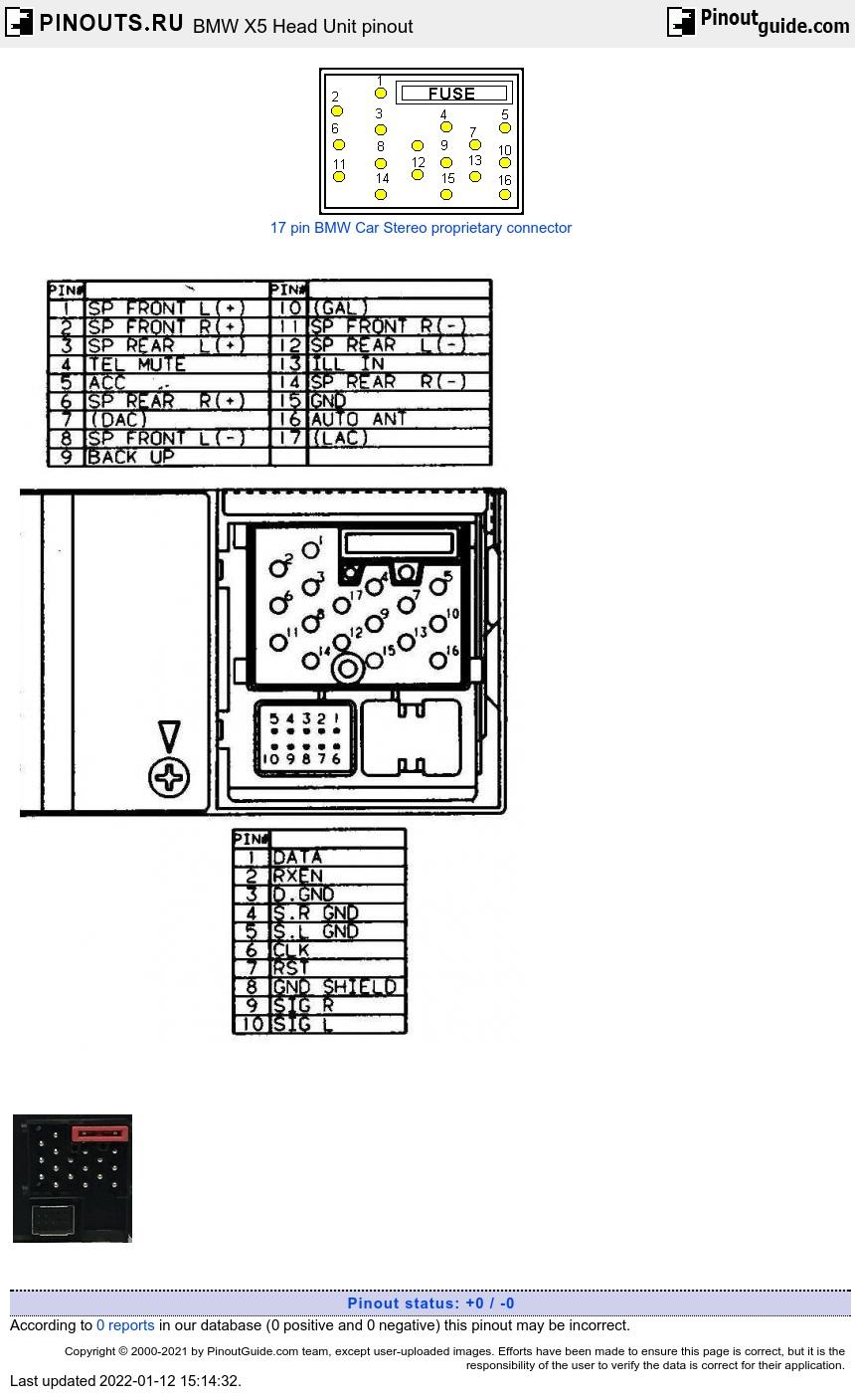 BMW X5 Head Unit pinout diagram @ pinoutguide.com