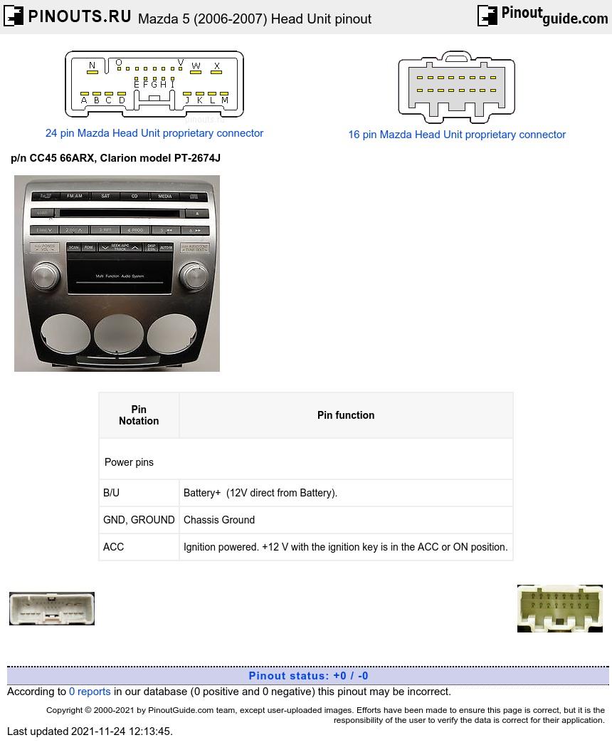 Clarion CC45 66ARX PT-2674J pinout diagram @ pinoutguide.com