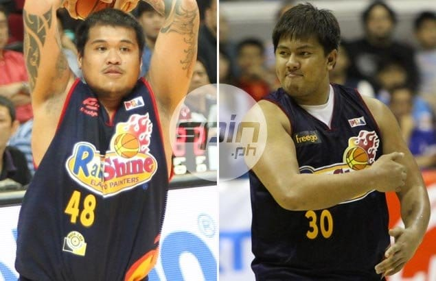 """Rain or Shine's 'Extra Rice Inc' pair of Beau Belga and JR Quinahan are quick to react to track coach James Lafferty's no-rice policy, and Belga says he can only hope the American coach won't be hired anytime soon by the Elasto Painters. """"Patay tayo 'dun,"""" he says. Jerome Ascano"""