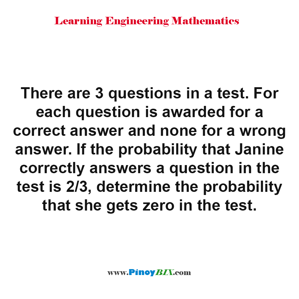 hight resolution of determine the probability that janine gets zero in the test