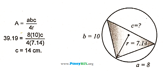 Solution: Find the third side of the triangle inscribed in
