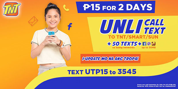 UTP15 TNT Promo 15 Pesos with 2 Days Unli Call and Text