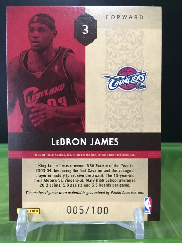 LeBron James - 2010 Panini Timeless Treasures Basketball (Triple Game-Used)