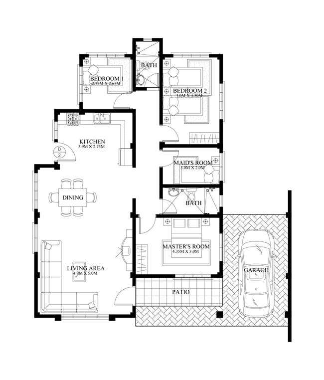 Bungalow house PHD2015016  Pinoy House Designs