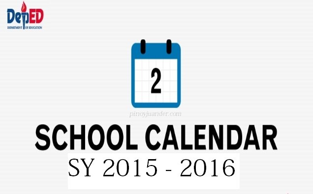 Philippine Official School Calendar for School Year 2015