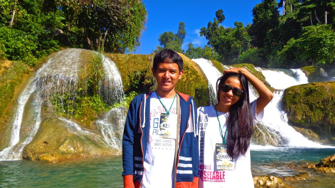 (L-R) Georg Kevin Paquet and Semarfe Dela Cruz at the base of the Aliwagwag Falls, Cateel, Davao Oriental.